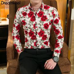 Men Flower Print Shirts Australia - 2019 Spring Floral Print Men Shirts Long Sleeve Mens Casual Cotton Shirt Slim Men Flower Printing Dress Shirts Size 4XL Y