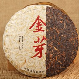 green tea cakes Canada - Preference 100g Ripe Puer Tea Yunnan Gold Bud Small Cake Puer Tea Organic Natural Pu'er Oldest Tree Cooked Puer Black Puerh Green Food