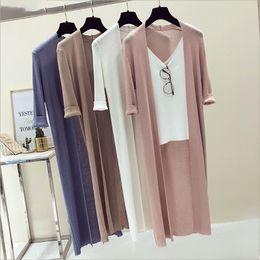 $enCountryForm.capitalKeyWord Australia - Knit Long Cardigan Women Top Spring Summer V Neck Solid Sweater Thin Coat Women Casual Cardigans 3 4 Sleeve Jacket Coat