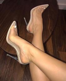 Vente en gros Escarpins transparents en PVC Sandales Talons Perspex Talons aiguilles Talons hauts Bouts de chaussures pour femmes