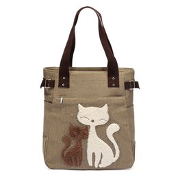 Cute Canvas Handbags Australia - good quality 2019 Fashion Women Canvas Handbag Cute Cat Appliques Travel Shoulder Bags Causal Lady Handbags Female Shoulder Tote
