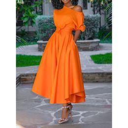 $enCountryForm.capitalKeyWord NZ - 2019 Casual Long Dress Women Summer One Shoulder Sexy Fashion Street Travel High Waist Robe Ladies Big Swing Elegant Day Dresses MX190725