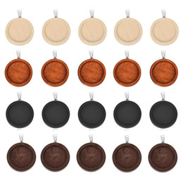 25mm cabochon pendant Australia - 10pcs 25mm 30mm Wood Cabochon Base Setting Trays Bezel Blank Stainless Steel Hook wooden Pendant Charms DIY for Jewelry Making