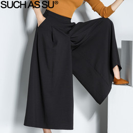 $enCountryForm.capitalKeyWord Australia - Such As Su Autumn Winter Ankle-length Trousers For Women 2019 Black High Waist Wide Leg Pants S-3xl Size Loose Office Lady Pants Y19071801