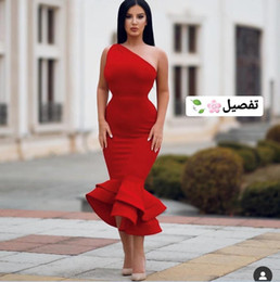Elastic Satin Prom Dresses NZ - 2019 Red One Shoulder Mermaid Evening Dresses Elastic Satin Tea Length Saudi Arabian Design Formal Dress Custom Made Prom Grow