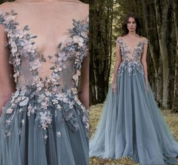 Short White Dress Plunging Neckline Australia - 2019Paolo Sebastian Prom Dresses Sheer Plunging Neckline 3D Appliqued Beaded Evening Gowns Sweep Train Soft Tulle Special Occasion Dress