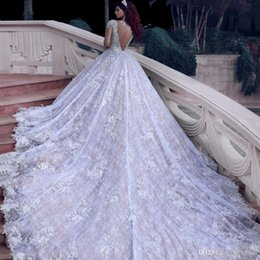 $enCountryForm.capitalKeyWord Australia - Gorgeous A Line Wedding Dresses With Sparkling Sequin Beaded high Neck Sexy Backless Court Train Lace Bridal Gown Custom Made Dubai Gown