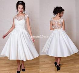 e564abf5d49 Cheap see through short wedding dress online shopping - 2019 Tea Length  Wedding Dresses See Through