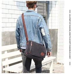 Vintage Military Leather Bags Australia - New Men Canvas Leather Crossbody Bag Military Army Vintage Messenger Bags Shoulder Bag For Sport Outdoor Packs Wholesale