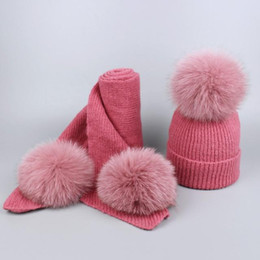 $enCountryForm.capitalKeyWord Australia - Winter children kids cashmere fleece Blend Hats Matching Scarves with Real Fur Pompom Set Caps and Scarves suits for baby