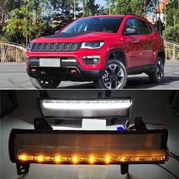 compass lamp NZ - 1 Pair Daytime running light dynamic yellow turn Signal Light style Relay 12V LED car DRL fog lamp For Jeep Compass 2017 2018 2019