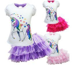 $enCountryForm.capitalKeyWord Australia - children kids unicorn tutu skirt +top shirt 2pcs clothes set summer cotton animal cartoon print 2019 party costume outfit z40 wholesale
