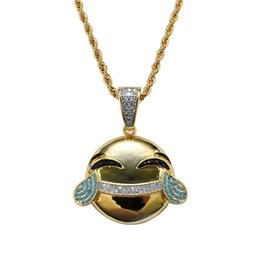 Chinese  hip hop emoji diamonds pendant necklaces for men women Face with Tears of Joy funny luxury cry necklace real gold plated copper Cuban chain manufacturers