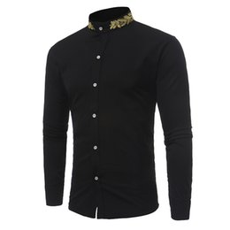 Discount formal office clothes blouses - Spring Slim Fit Stand Collar Shirt Long Sleeve Embroidery Solid Color Top Blouse Males Business Office Clothes Formal To