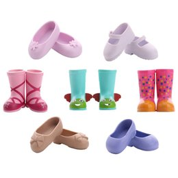 $enCountryForm.capitalKeyWord Australia - LUCKDOLL Colorful Printing Shoes Rain Boots For Fit 14.5 inch American Doll Wellie Wishers Accessories Generation&Girl Toy Gif