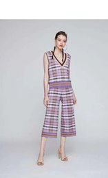 $enCountryForm.capitalKeyWord NZ - New sleeveless v-neck striped plaid wide-leg pants for spring summer 2019 are designed as sexy casual sweater skirt suits