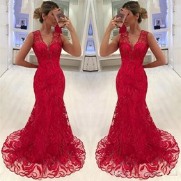 sweet little models Canada - Black Girls Prom Dresses 2020 Mermaid V-Neck Lace Formal Evening Gowns Cocktail Party Ball Quinceanera Sweet 16 Dress Celebrity Gown