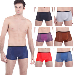 Wholesale 8305 Summer Mesh Shorts Men Sexy Transparent Mens Boxers Ice Silk Underpants Bamboo Fiber Gay Boxer Shorts Big Size Underwear