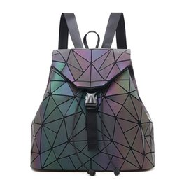 holographic bags UK - 5 Colors 2018 New Fashion Design Geometry Luminous Pu Leather Backpack For Women Diamond Lattice Drawstring Holographic Bags Y19052801