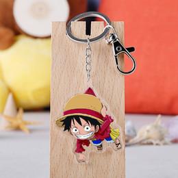Anime One Piece Keychains Japanische Cartoon Acryl Ruffy Schädel Skeleton Autoschlüssel Halter Kette Schlüsselanhänger Schmuck Bester Freund Geschenk
