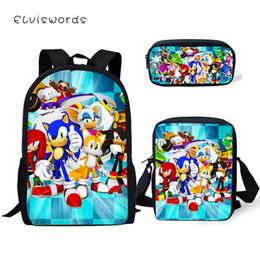 gold hedgehog 2019 - ELVISWORDS Fashion 3PCs Set Children's Backpack Sonic The Hedgehog Pattern Students School Bags Backpack Messenger