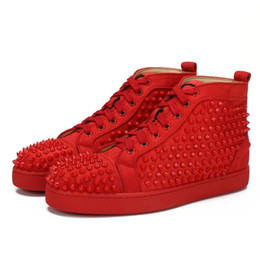 $enCountryForm.capitalKeyWord UK - Designs Fashion Spike Loafer Dress Shoes Red Bottom Sneaker Luxury Party Wedding Shoes Genuine Leather Spikes Lace-up Casual Shoes B17