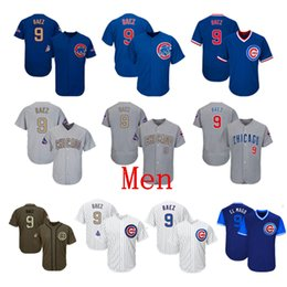 b463253a Mens Chicago Cubs Baseball Jerseys 9 Javier Baez Jersey White Blue Gray  Grey Green Salute Players Weekend All Star