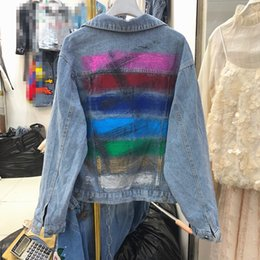 Wholesale Fall new fashion back hand painted graffiti loose Korean bf short denim jacket blouse