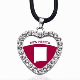 mexico silver jewelry Canada - New Mexico Outline Circle Charm Crystal Round Small Pendant Necklace Elegant Women Jewelry Gifts