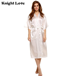 Long Kimono Robe Women Satin Nightwear Bathrobes Sleepwear V-Neck Half Sleeve  Lace Bridesmaid Robes Sexy Lingerie Robe Femme 1ee94074e