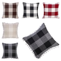 decorative body pillow covers 2021 - Tassel Pillow case Pompom Ball Home Decorative plaid Cushion Cover Grid 5 Colors Square Pillow Case For Sofa Chair Car 4