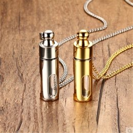 Discount glass bottle charm for necklace - New Black Gold Silver Color Can Open Glass Stainless Steel Perfume Bottle Pendant Necklaces For Women Men 24 Inches