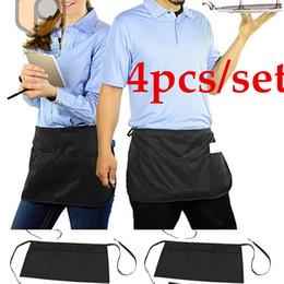$enCountryForm.capitalKeyWord Australia - 4pcs set Black Server Waiter Waitress Chef 3 Pocket Waist 50x32cm Apron
