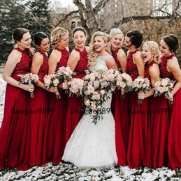 green fall dresses NZ - Burgundy halter neck Long A-line Bridesmaid Dresses 2019 Dubai Arabic Style Cheap fall Wedding Party Guest Dress custom made