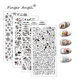 Cartoon Stamping Australia - Finger Angel 1PCS Christmas Nail Stamping Plates Stamp Image Unique Design Cartoon Elk Snowflake 6*12cm DIY Nail Art Template