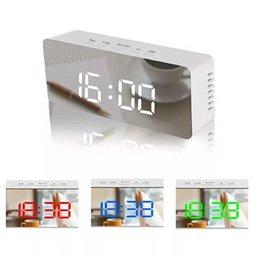 venda por atacado Espelho LED Relógio Despertador Snooze Digital Relógio de mesa Despertar Luz eletrônico Grande Tempo Display de temperatura Decoração Relógio DBC BH2657