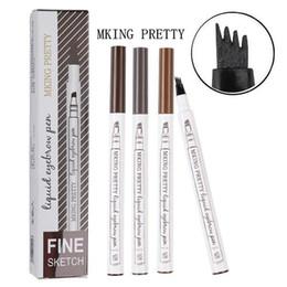 60pcs MKing BASTANTE líquido pluma de la ceja de la ceja MKing BASTANTE Enhancer 4 colores de cuatro cabezas de cejas Enhancer impermeable en stock en venta