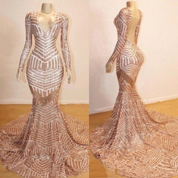 $enCountryForm.capitalKeyWord Australia - Rose Gold Long Sleeves Real Images Sequin Prom Dresses 2019 V Neck Mermaid See Through Backless Sweep Train Evening Gowns