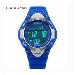 Moda Digital Crianças Assista Esportes Das Crianças À Prova D 'Água Relógio de Pulso Vestido Com LED Digital de Alarme Cronômetro Lightweight Silicone Azul Presente