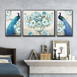 paintings peacocks NZ - 3piece 5d Diamond Painting Full Rhinestones Vintage Designs Blue Peacock and Flower Vase Mosaic Kit diy Home Decor Wall Stickers