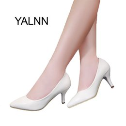 White Leather Shoes For Women NZ - YALNN High Heel Women Shoes New Fashion women leather 7cm heel Black&White shoes for Office Lady
