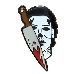 movies accessories UK - Michael Myers pin murder mask badge horror movie brooch Halloween scare gift perfect accessory for horror party