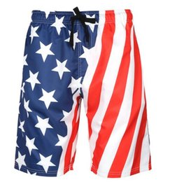 Wholesale 2019 Men s Quick drying Beach Pants Large Size Creative Printed Shorts flag European American Summer Sports Pants flexible stylish Swimwear