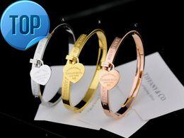 $enCountryForm.capitalKeyWord Australia - High Quality Celebrity design Silverware Silver beads bracelet Women Letter Heart-shaped Fashion metal Bracelets Jewelry With dust bag Box