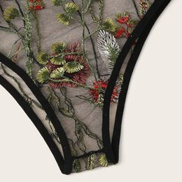 black sheer women s underwear Canada - Women V-Neck Floral Lace Embroidered Sheer Underwear Black Lingerie Set S-2Xl Plus Szie Lingerie Sexy Hot Erotic Porno Z0220