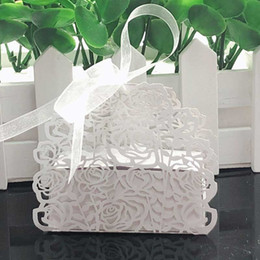 $enCountryForm.capitalKeyWord Australia - 50pcs Rose Flower Shaped Laser Cut Hollow Carriage Gift Bags Candy Boxes With Ribbon Baby Shower Wedding Favors Party Supplies