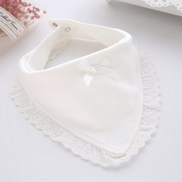 lovely baby towels UK - Baby Bibs Burp Bibs & Burp Cloths Cotton Lace Bow Baby Girls Lovely Cute Infant Saliva Towels Kids Feeding Saliva Towel Babetes