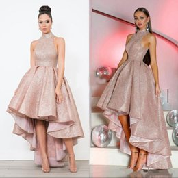 ruffled hi low prom dresses 2021 - Shiny Hi-Lo Prom Dresses High Neck Backless High Low Ruffles A Line Formal Evening Party Gowns Vestido De Fiesta 2020 Custom