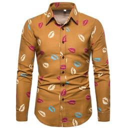 $enCountryForm.capitalKeyWord Australia - Novelty Lips Pattern Print Blouse Male Shirts Long Sleeve Funny Kiss Club Boy Casual Shirt Big Size 5XL Linen Tops High Quality