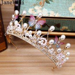 Pearl Bridal Jewellery Australia - JaneVini Boho Butterfly Bridal Tiaras and Crowns Pearl Crystal Bride Hair Jewellery Headdress Wedding Headband Birthday Party Accessories
